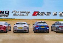 Дрэг-гонка: новая BMW M8 против Audi RS6, Mercedes-AMG E63 и Panamera Turbo S