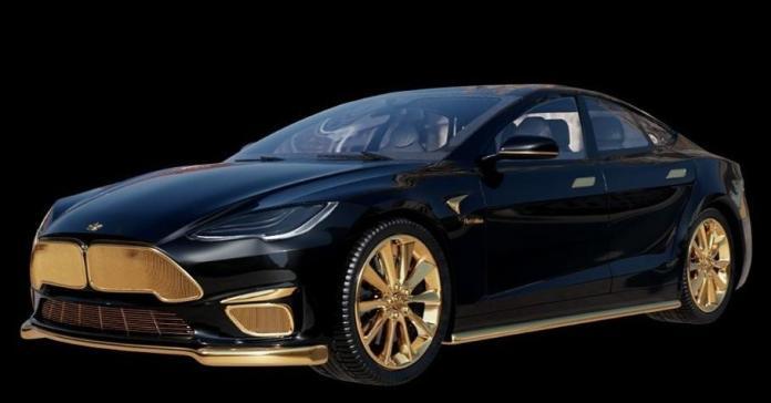 Посмотрите на Tesla Model S с позолотой стоимостью 22,3 миллиона рублей