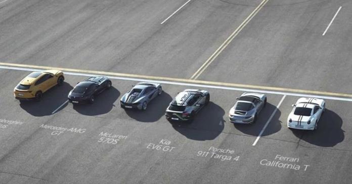 Видео: электрокар Kia EV6 GT соревнуется в скорости с пятью суперкарами